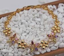 Bracelet 18K Gold Filled Peridot Ruby Morganite Flower Hollow Heart Hand Chain