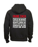 Sweat shirt noir à capuche homme zippé FRUIT OF THE LOOM FAIRE CACA