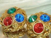 Vintage 80's Showy Colorful Red Blue Green Rhinestone Rounds Clip Earrings 603J0