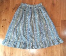 Vtg peasant skirt S Sm handmade blue floral full ruffled hem below knee modest