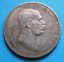 5 Corone Impero Austriaco FRANZ JOSEF I del 1908 - Argento  -nr  647