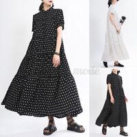 Women Short Sleeve Polka Dot Beach Dress Baggy Maxi Dress Long Tops Shirt Dress