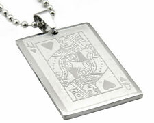 Collier Carte Dame de Coeur Acier Steel Pendant Queen of Heart Card Poker Casino
