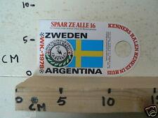 STICKER,DECAL WK ARGENTINA 1978 VOETBAL,SOCCER JH HENKES ZWEDEN SWEDEN A
