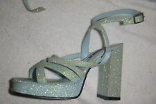 Womens Retro Pale Blue Glitter Platform Block Heel Sandals by Diba Sz 6M