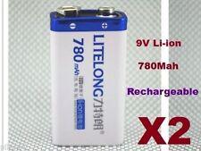 2 Batterie 9V Li-ion 780Mah Rechargeable 6LR61 Accu Battery Pile Accus 9 volts