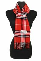 Women's Cashmer feel Red  Plaid Scarf Neck Warmer Wrap