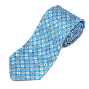 E. MARINELLA Napoli Sky Blue Pop of Flowers Floral Hand Made Men's Silk Neck Tie