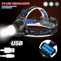 10000LM T6 LED USB Stirnlampe Kopflampe Scheinwerfer Wasserdicht 2x 18650 Akku