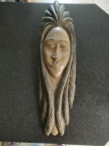 Long Face Wooden Carved  - Wall Hanging needs restoration