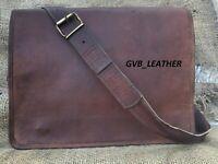 Men's Genuine Vintage Leather File Bag Messenger Shoulder Laptop Briefcase Bag
