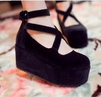 new women's ankle strappy wedge high heel platform round toe fashion boots shoes