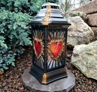 Grablaterne Sockel Grablampe Lampe Grableuchte Grablicht Herz Kerze Granitsockel
