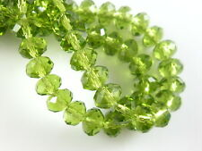 30Ps Olive Green Crystal Glass Faceted Rondelle Beads 8mm Spacer Finding Charms