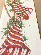 Vtg Xmas Card Amazing Mcm Popcorn New! Striped Bells Hawthorne Sommerfield ~024