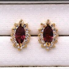 Pretty New 18K Gold Plated Dark Purple Topaz Marquis CZ Crystal Stud Earrings