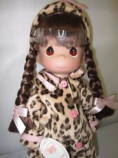 """Precious Moments Warm your Heart Leopard Dress 12"""" Doll New"""