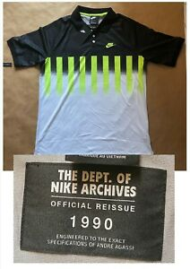 NIKE Tennis Archives Challenge Court Agassi Polo Shirt 2020 CU4200-702 Size M