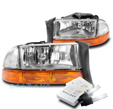 97-04 DODGE DAKOTA/98+ DURANGO REPLACEMENT HEAD LIGHT LAMP+AMBER BUMPER W/8K HID