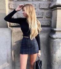 brandy melville green/navy checker plaid fitted mini Juliette Skirt  sz XS/S