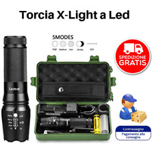 2 TORCE X-LIGHT LED Tattica Militare Professionale WATERPROOF ULTRA POTENTE LED