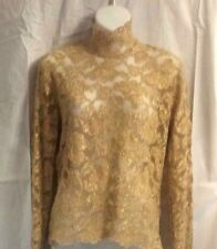 Vintage Gold Lace Embroidered Long Sleeve Scalloped Hem & Sleeves Stretchy Top M