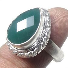 GREEN ONYX STONE !! 925 STERLING SILVER OVERLAY RING JEWELRY SIZE 7.5 US