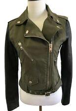 Diesel Lambskin Leather Sleeve Army Green Cotton Biker Jacket Size XS