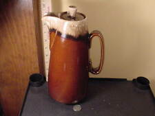 "Unmarked HULL Pottery Brown Drip Pitcher Server ""Oven Proof"" USA with lid"
