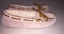 Minnetonka Womens Slip On Leather Moccasins Slippers Tan Fur Lined Hard Sole 8