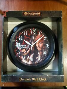 Disney Pirates of The Caribbean PORTHOLE Wall Clock Dead Mans Chest NOS RARE