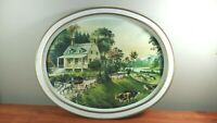 """Currier and Ives Vintage Metal Oval Tray The American Homestead Summer 12""""x14"""""""