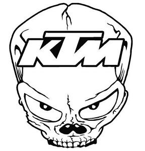KTM Skull funny car van,bumper, windows, laptop, lorry JDM vinyl decal sticker