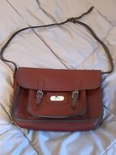 Vintage Original Mitre Sports Brown Leather School Satchel Case Bag With Strap