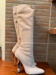 Givenchy Leather paneled suede women knee boots pastel pink  37 7