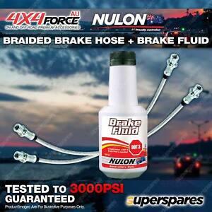 2 Fr Braided LH+RH Brake Hoses + Nulon Fluid for Toyota Hilux KZN165 LN167 LN172