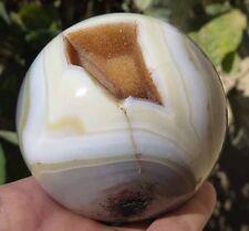 Huge 84mm 1LB 10.1OZ Natural Geode Moss Agate Quartz Crystal Sphere Ball