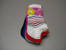NWT Women's HUE Sport Cotton Foot Liner Footie Sock 6 Pair Shoe 6-9 Multi #454J