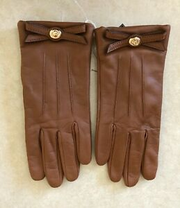 NWT COACH Turn lock Bow Leather Gloves Saddle Brown Size 6.5