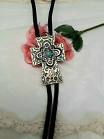 CROSS ROSE GOLD Silver Tip Black SOUTH Western Indian Bolo Tie Necklace EMPRESS