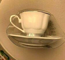 Special Occasion Small Cup & Saucer, with Candle, white, silvery trim  NEW