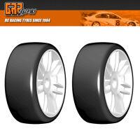 GRP GTH02-R1 1:8 GT T02 SLICK R1 Rain Belted Tire w/ White Wheel (2)