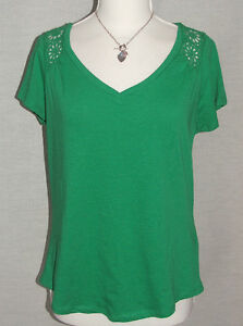 NEW F&F Emerald Green 100% CottonTop with Guipere lace trim in Sizes UK 10 to 20