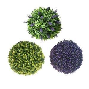 Artificial Lavender Lush Long Leaf Topiary Flower Ball Basket Plant DIY L5B1