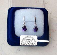 Orecchini Goccia oro bianco 18K zirconi cristalli swarovski veri SW7/4 viola