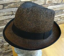 Failsworth Mens Brown Paper Straw Summer Trilby Black Band Size Small New