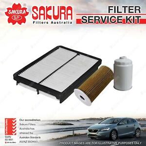 Sakura Oil Air Fuel Filter Service Kit for Hyundai Santa Fe DM 2.2L Turbo Diesel