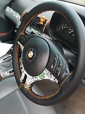 FOR BMW E46 3 SERIES TRUE LEATHER STEERING WHEEL COVER ORANGE DOUBLE STITCHING