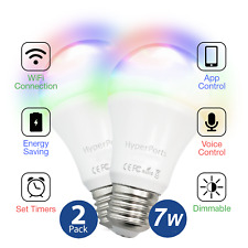 WiFi 7W 6000k + RGB Dimmable LED Smart Bulb works w/ Alexa, Google Assist -2pack