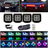 4x 3inch 24W LED Work Light Bar Spot Pods Chasing RGB Halo Kit For ATV Truck 4X4